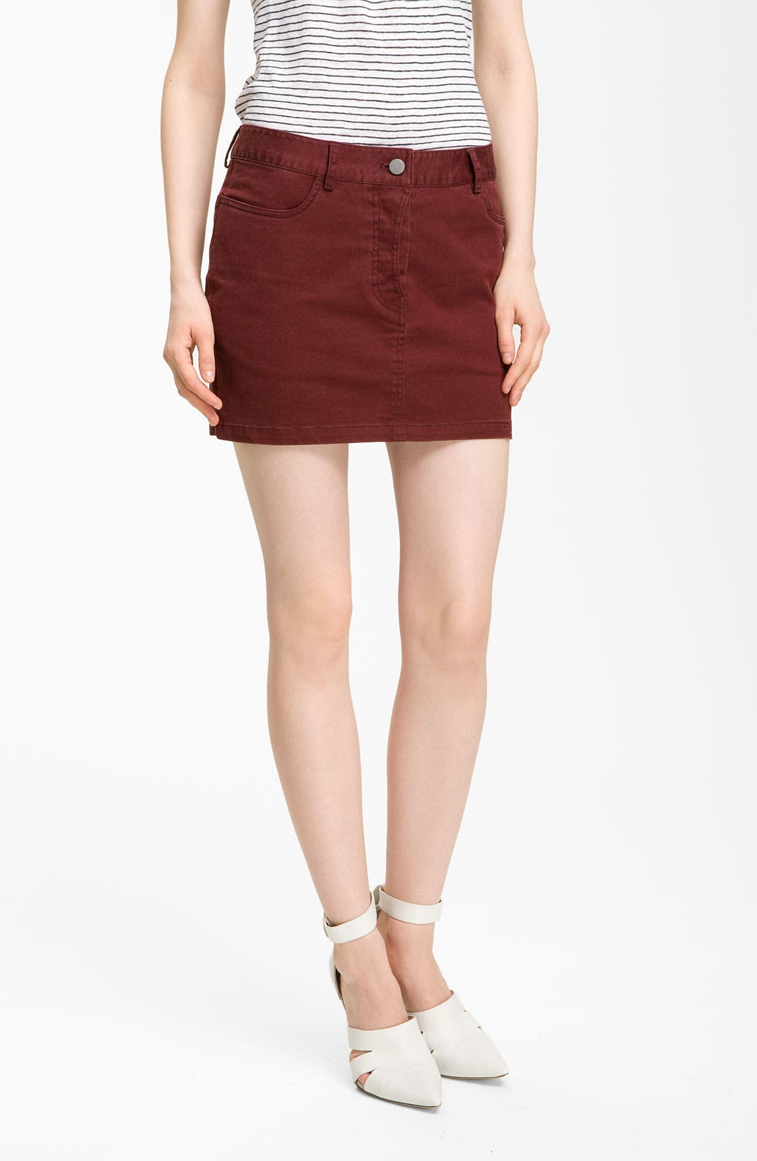 Main Image - T by Alexander Wang Stretch Twill Jean Skirt