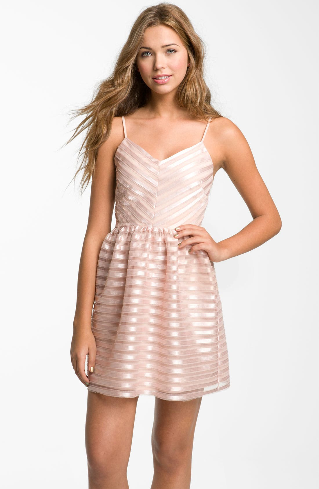 Alternate Image 1 Selected - Necessary Objects Satin Stripe Minidress (Juniors)