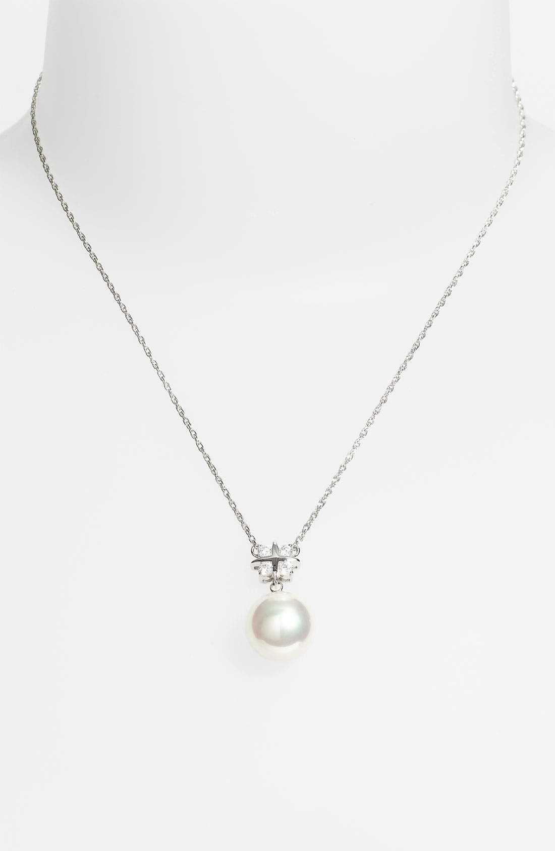 Alternate Image 1 Selected - Majorica Cubic Zirconia & Pearl Pendant Necklace