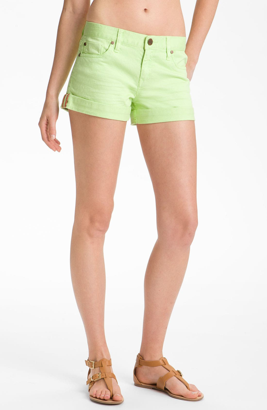 Main Image - Sanctuary 'Perfect Fit' Cuff Denim Shorts (Highlighter)