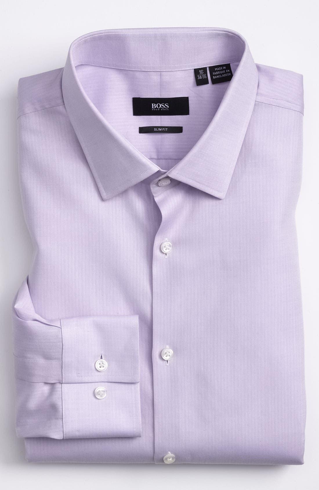 Alternate Image 1 Selected - BOSS 'Jenno' Slim Fit Herringbone Dress Shirt