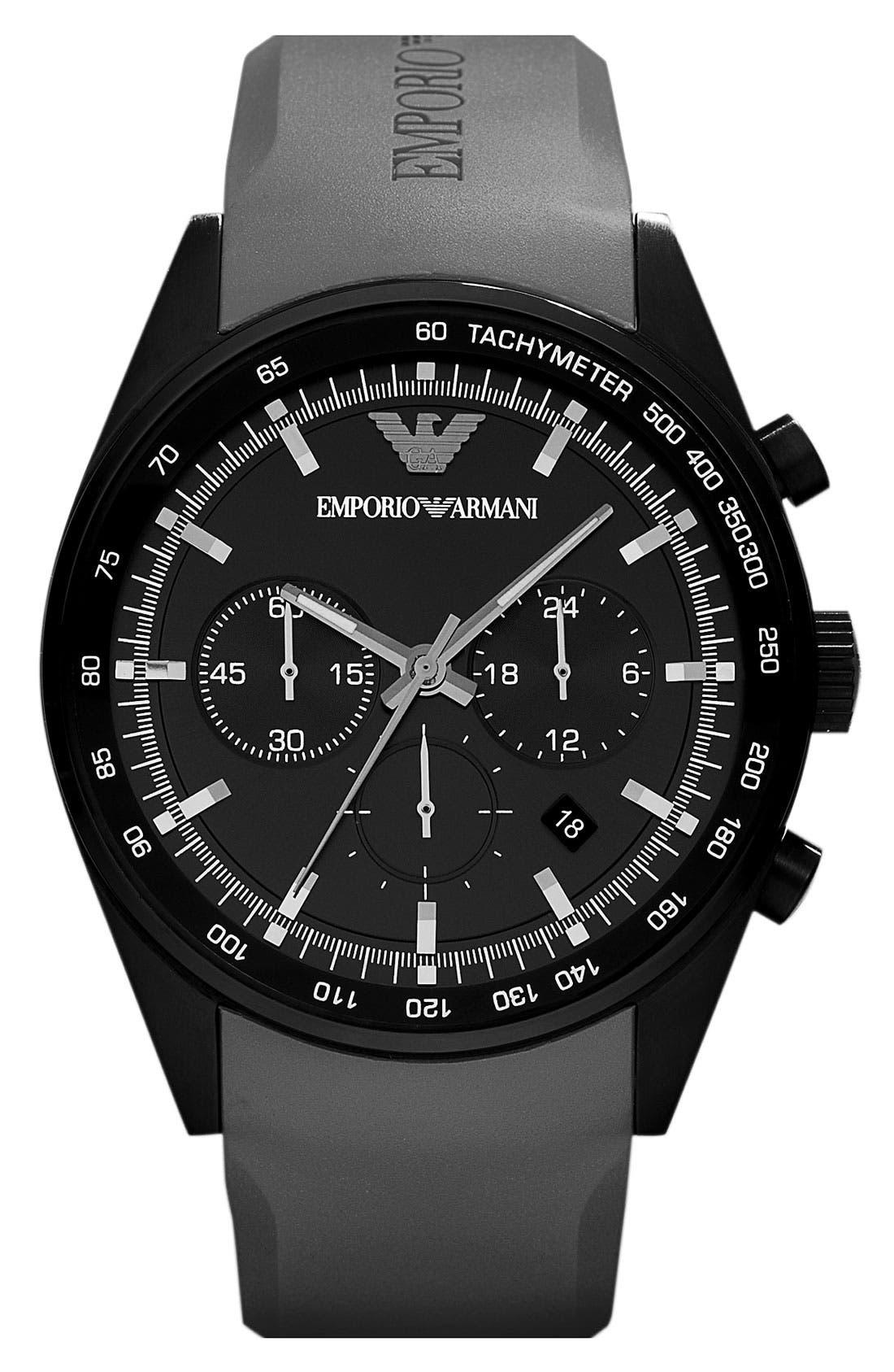 Main Image - Emporio Armani Round Rubber Strap Watch