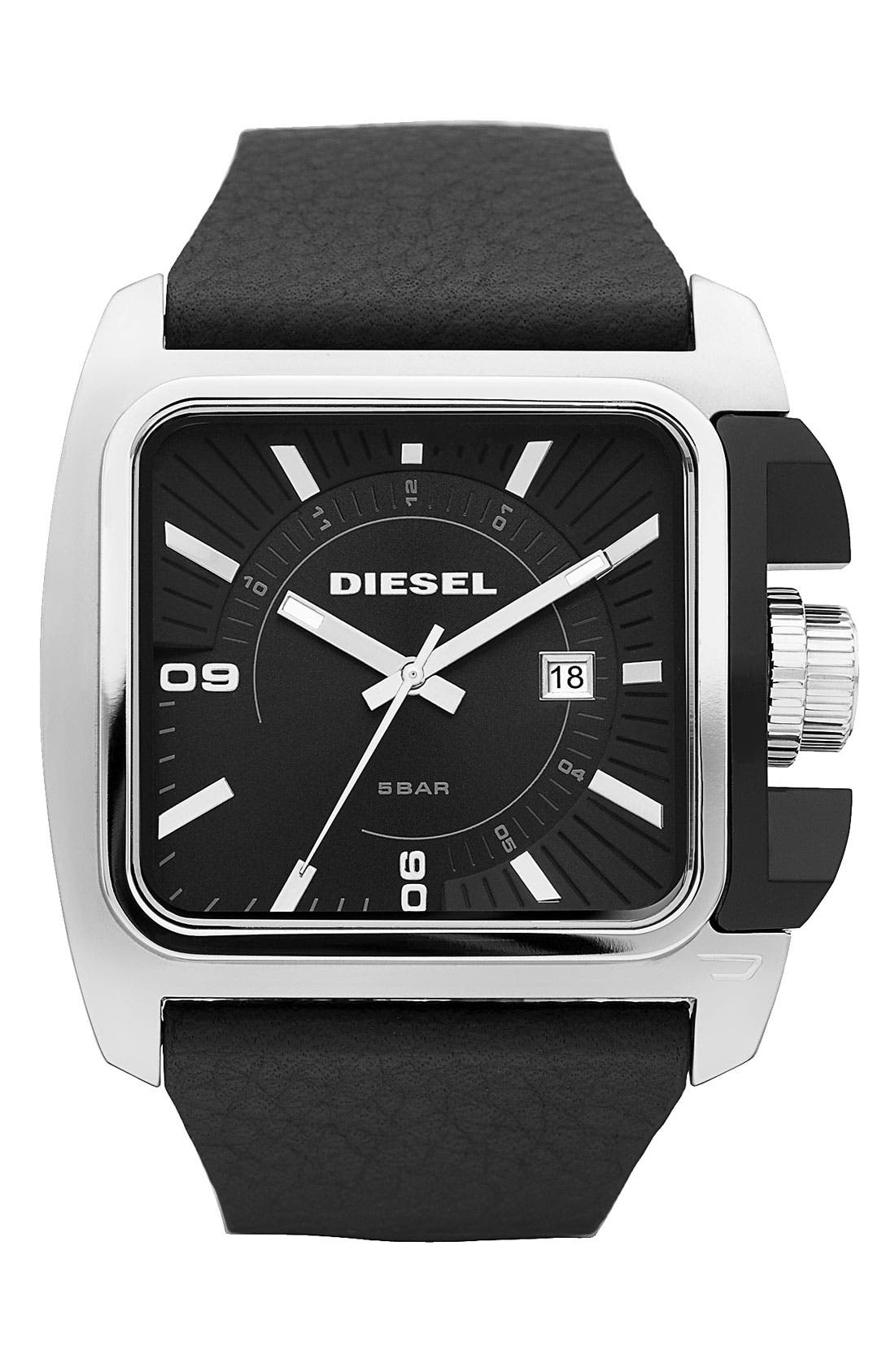 Main Image - DIESEL® Large Rectangular Leather Strap Watch