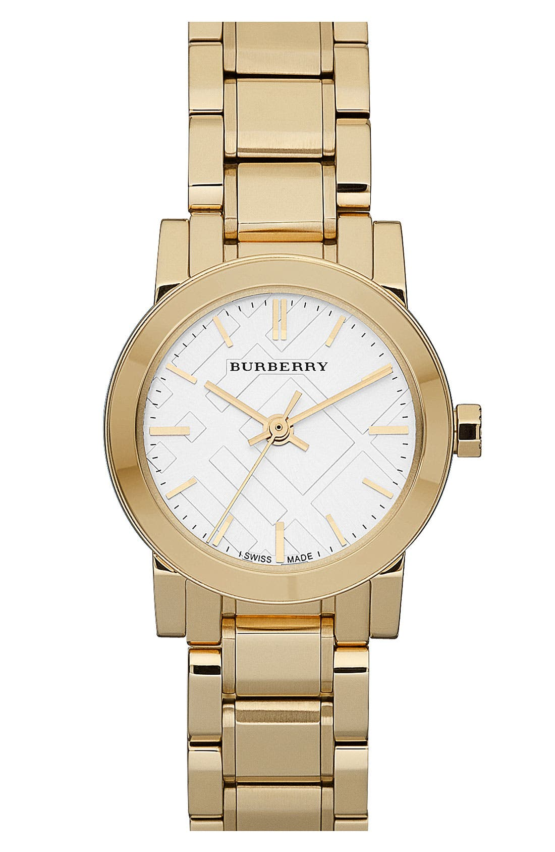 Main Image - Burberry Small Check Stamped Bracelet Watch, 26mm