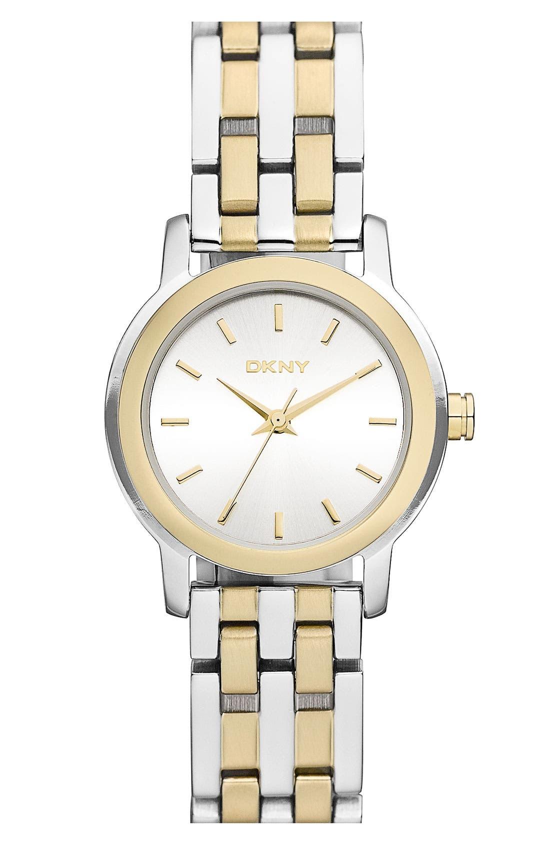 Main Image - DKNY Two Tone Bracelet Watch, 28mm