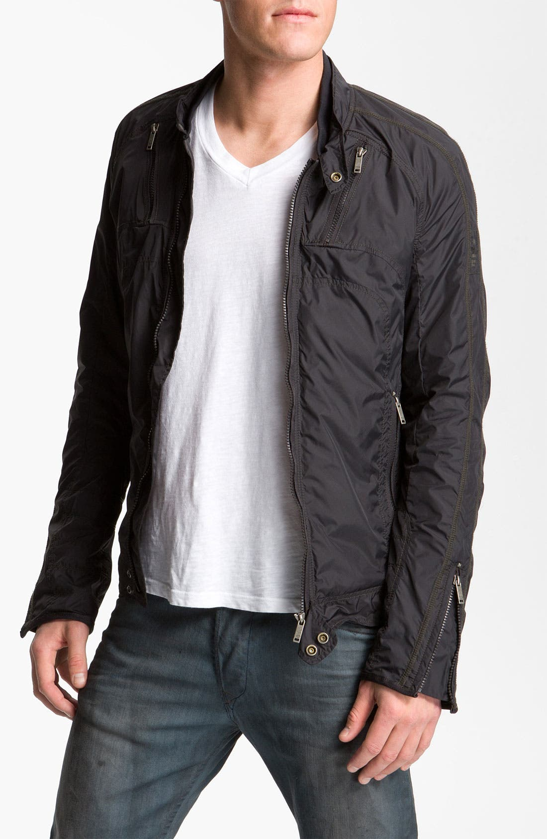 Alternate Image 1 Selected - DIESEL® 'Jurlo' Trim Fit Nylon Moto Jacket