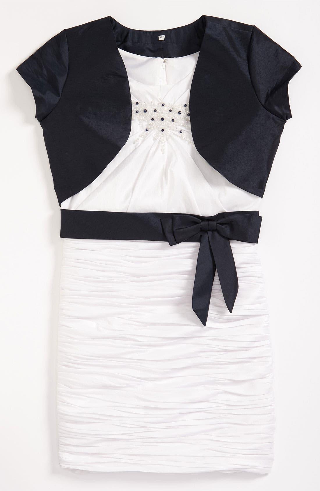 Main Image - Joan Calabrese for Mon Cheri Taffeta Dress & Bolero (Big Girls)