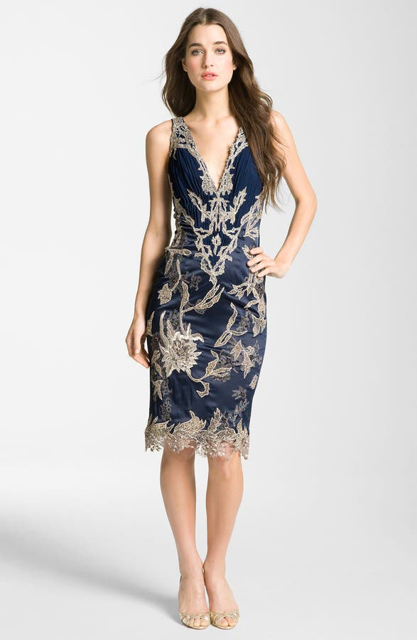 Main Image Julian Joyce V Neck Mixed Media Sheath Dress