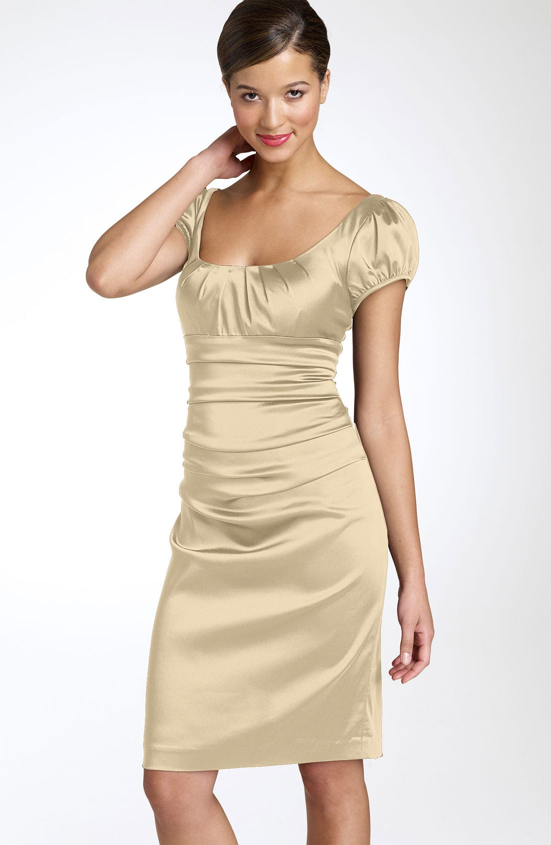 Main Image - Suzi Chin for Maggy Boutique Ruched Satin Dress