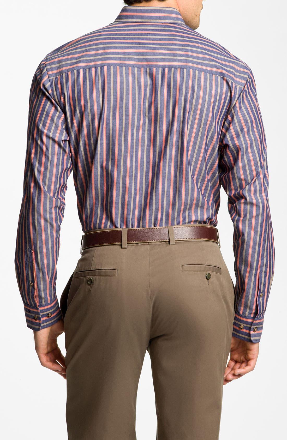 Alternate Image 2  - Cutter & Buck 'Harvest' Stripe Sport Shirt (Big & Tall) (Online Only)
