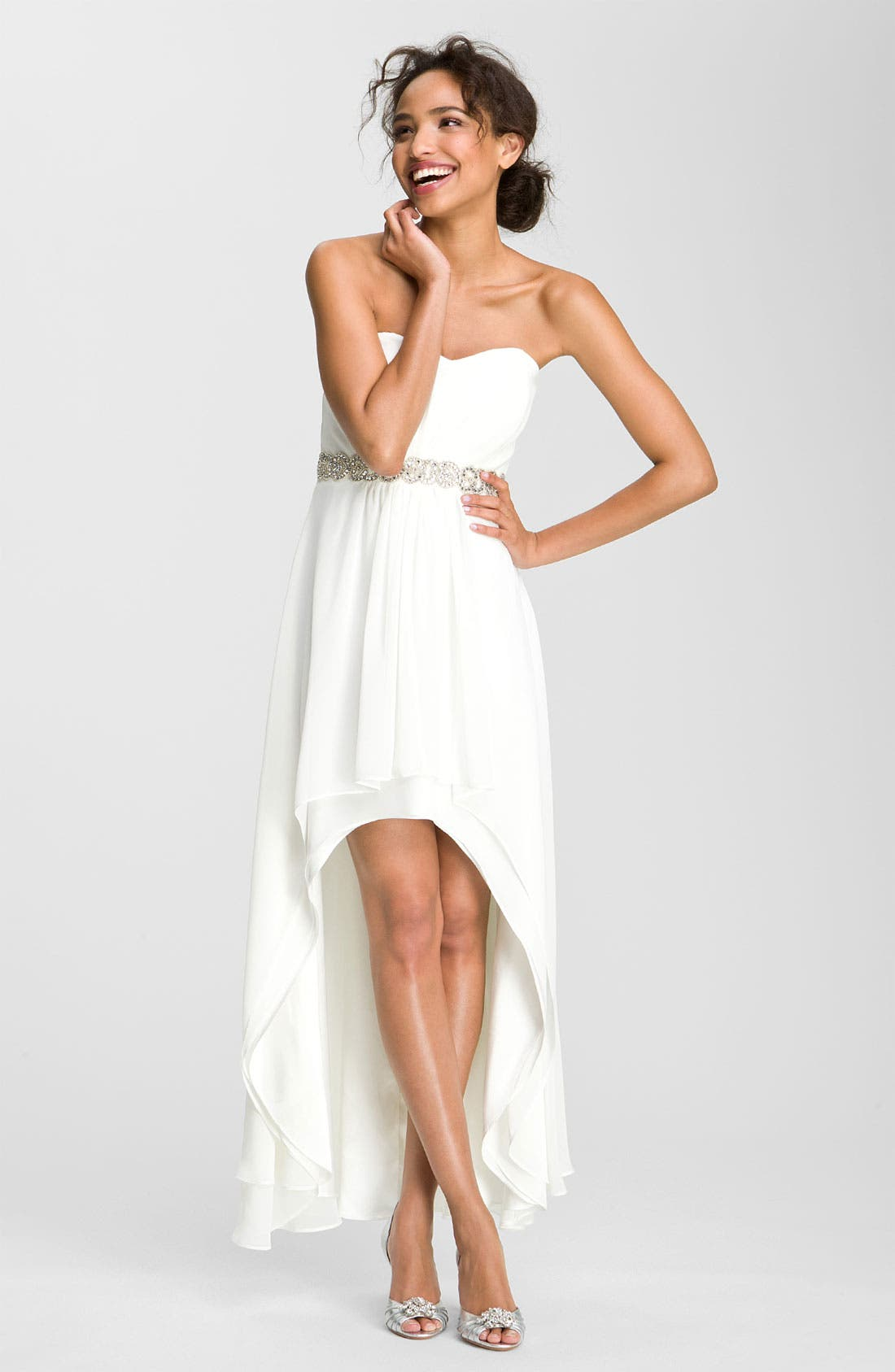 Alternate Image 1 Selected - Xscape Embellished Waist Chiffon Gown (Online Only)