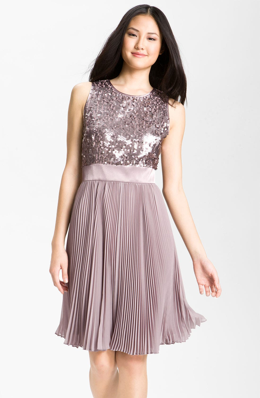 Main Image - Eliza J Sequin Bodice Pleated Chiffon Dress