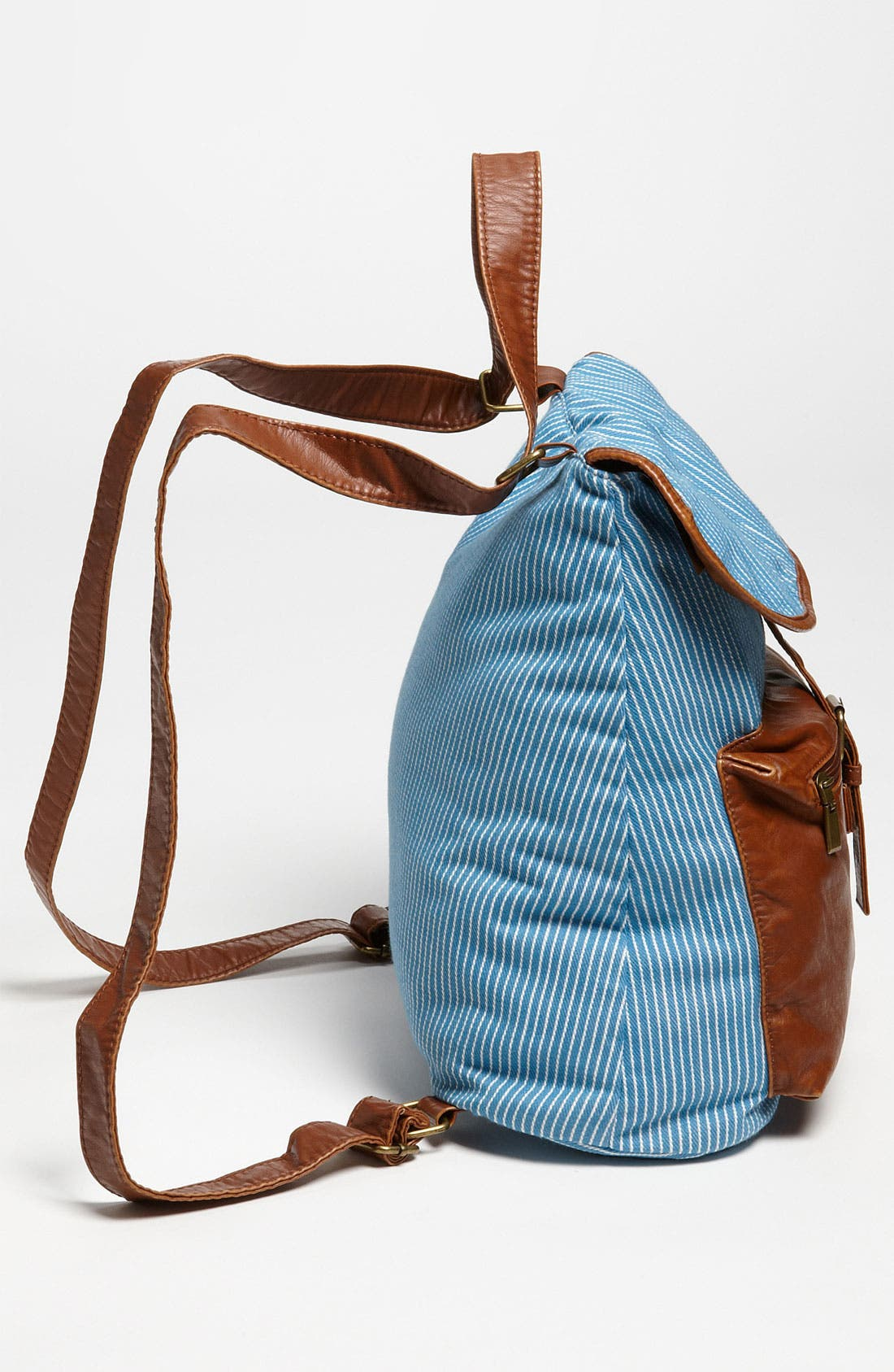 Alternate Image 2  - BP. Stripe Chambray & Faux Leather Backpack