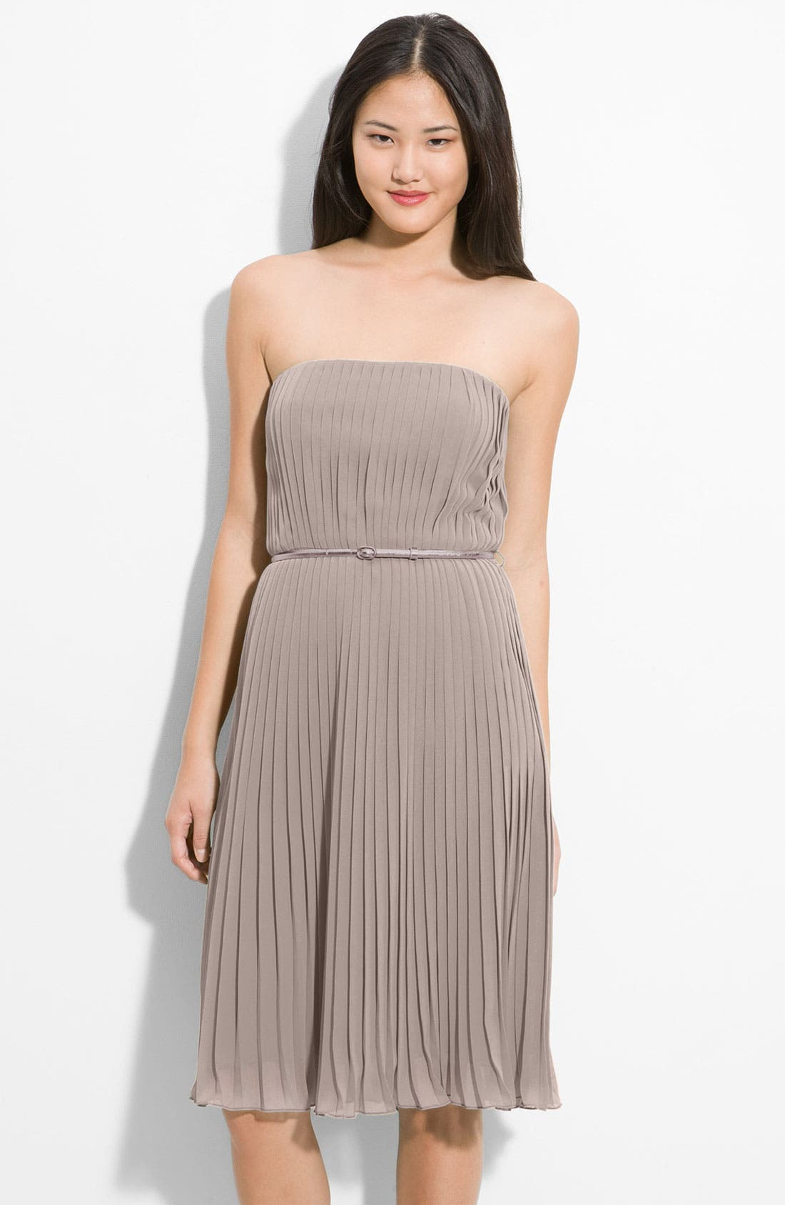 Alternate Image 1 Selected - Donna Morgan Belted Pleated Chiffon Dress