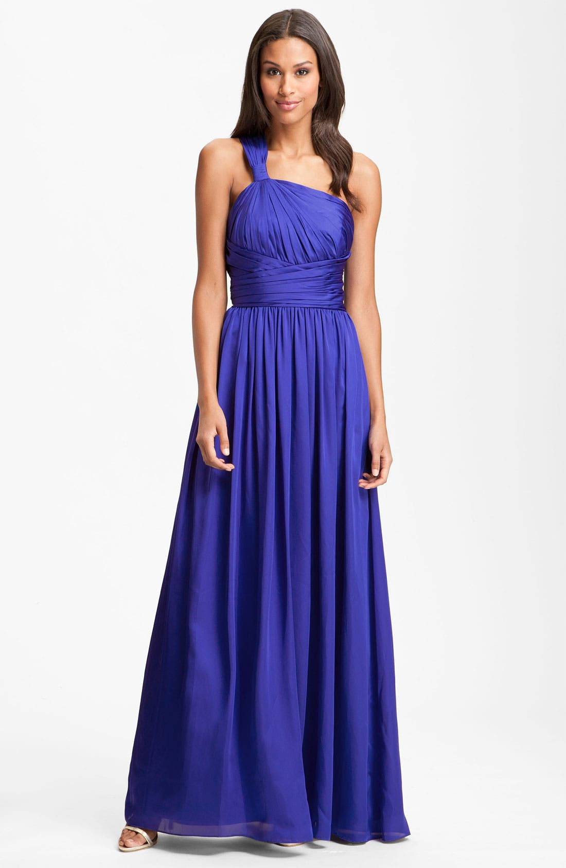 Alternate Image 1 Selected - ML Monique Lhuillier Bridesmaids One Shoulder Charmeuse Gown (Nordstrom Exclusive)