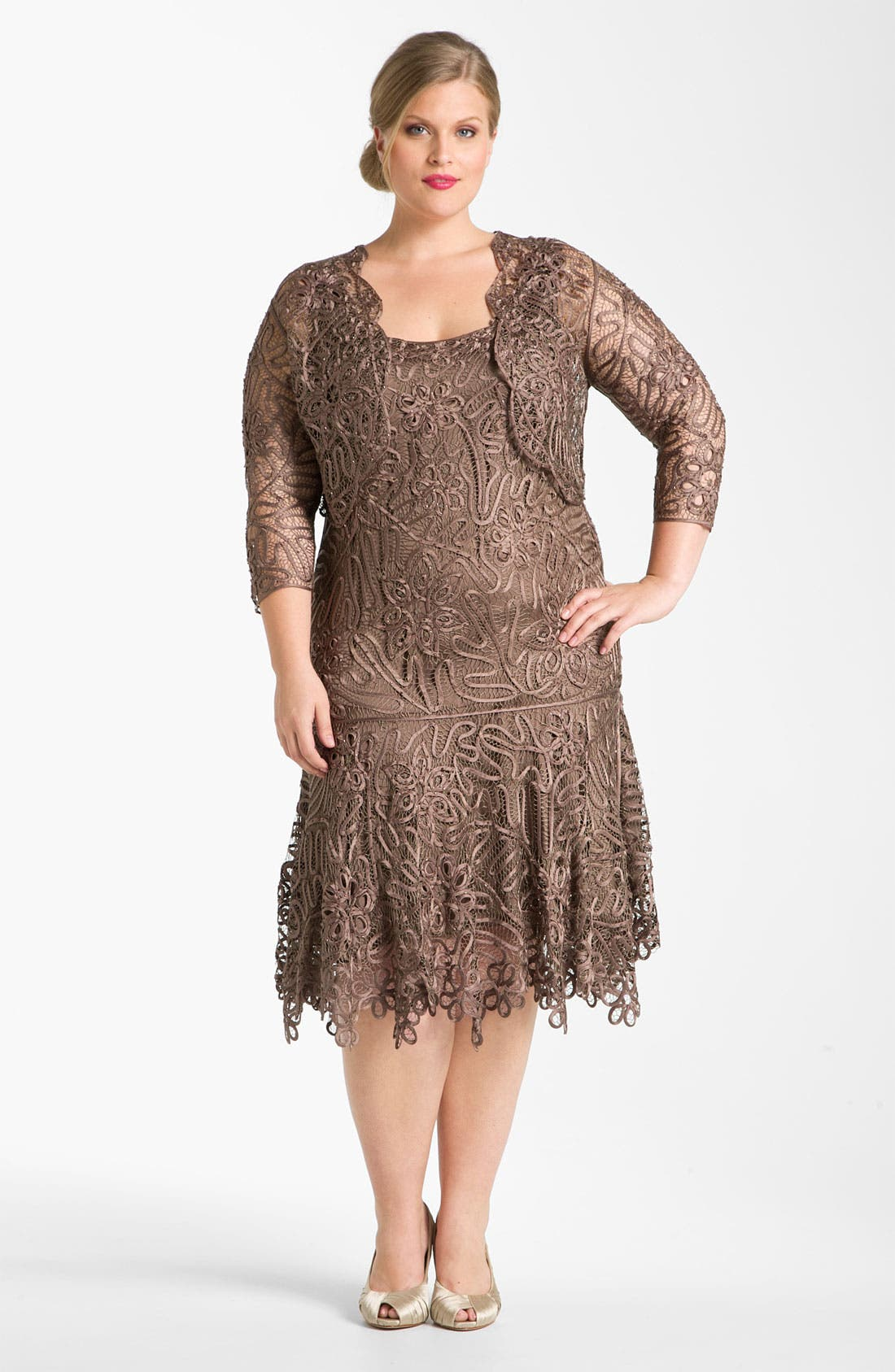 Alternate Image 1 Selected - Soulmates Beaded Crochet Silk Dress & Bolero (Plus)