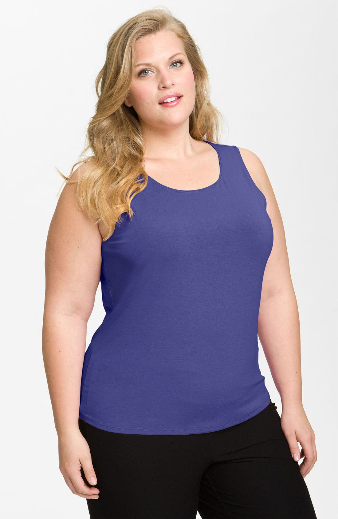 Alternate Image 1 Selected - Eileen Fisher Scoop Neck Tank (Plus)