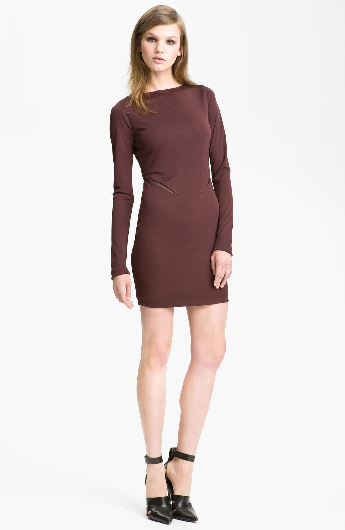 Alternate Image 1 Selected - T by Alexander Wang Mesh Inset Knit Sheath Dress
