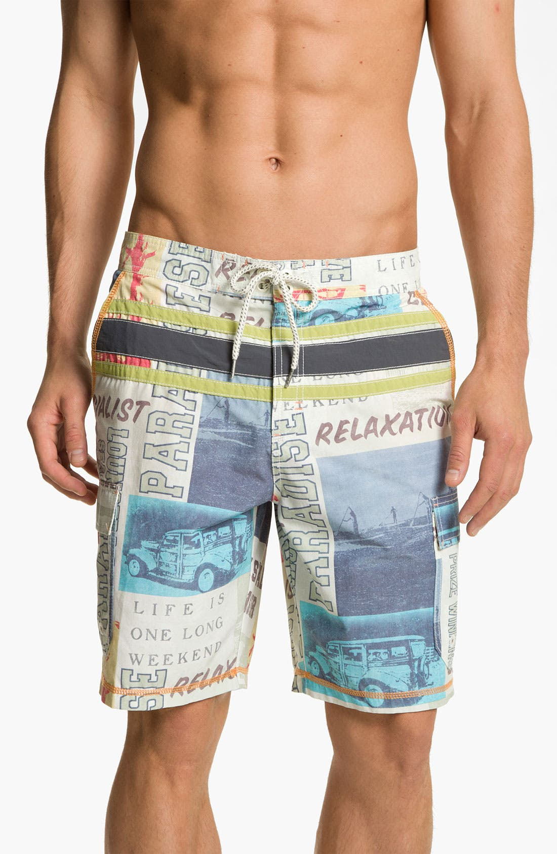 Main Image - Tommy Bahama 'Paddleboard Square' Swim Trunks