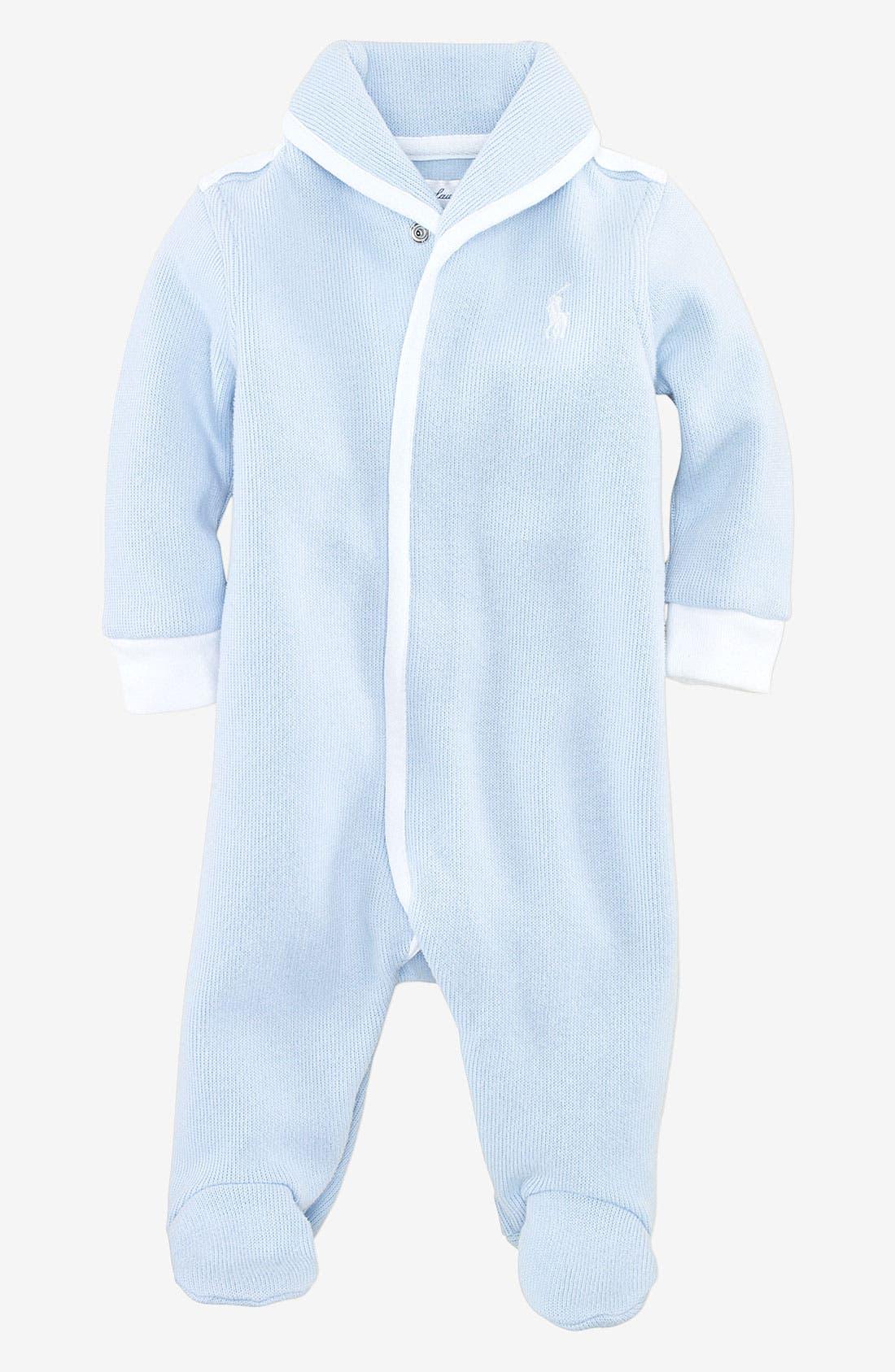 Alternate Image 1 Selected - Ralph Lauren Shawl Collar Footie (Infant)