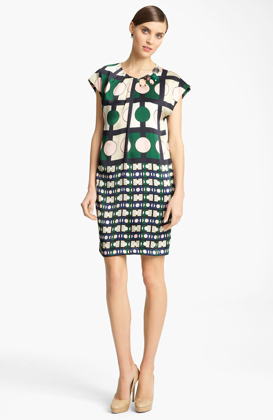 Main Image - Piazza Sempione Geometric Print Silk Dress