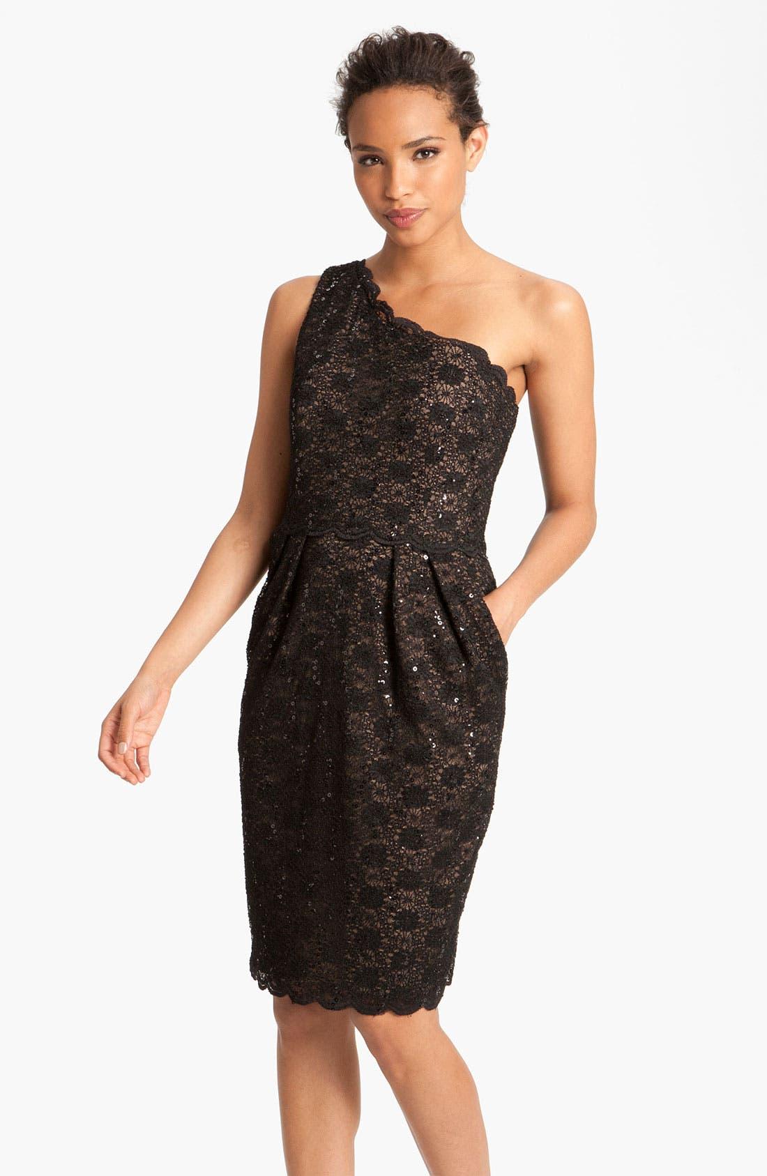 Main Image - Alex Evenings One Shoulder Lace Sheath Dress