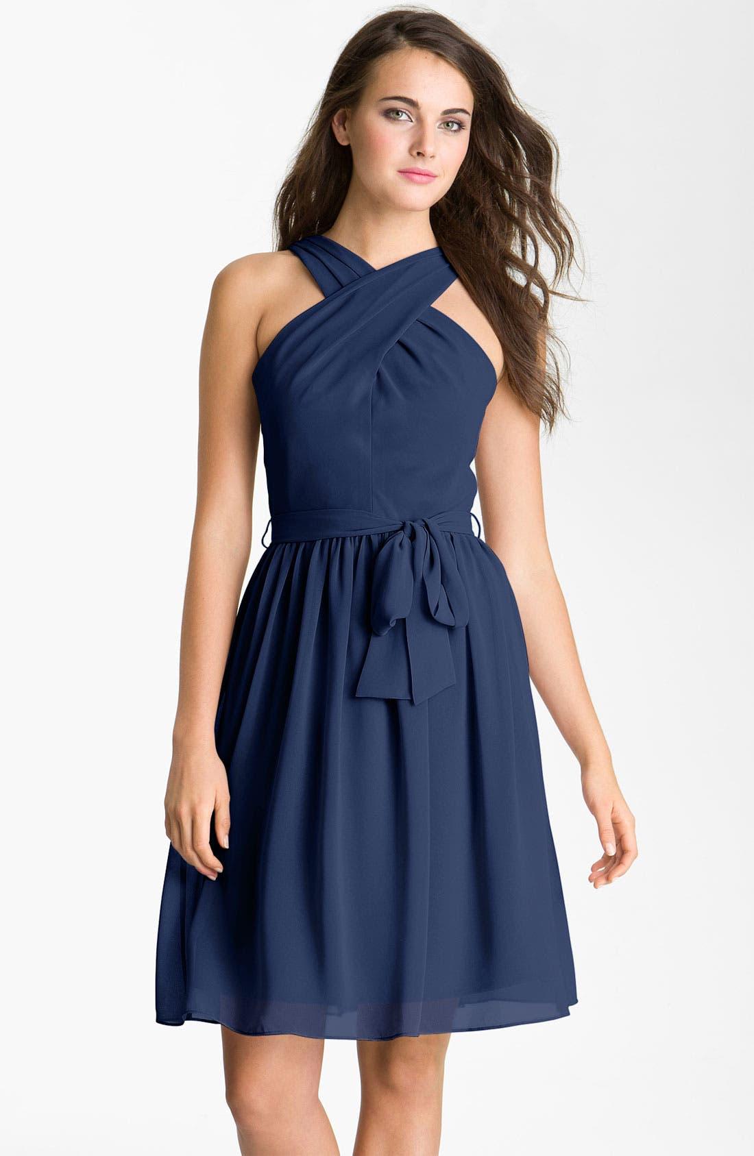 Alternate Image 1 Selected - Donna Morgan Crisscross Chiffon Dress