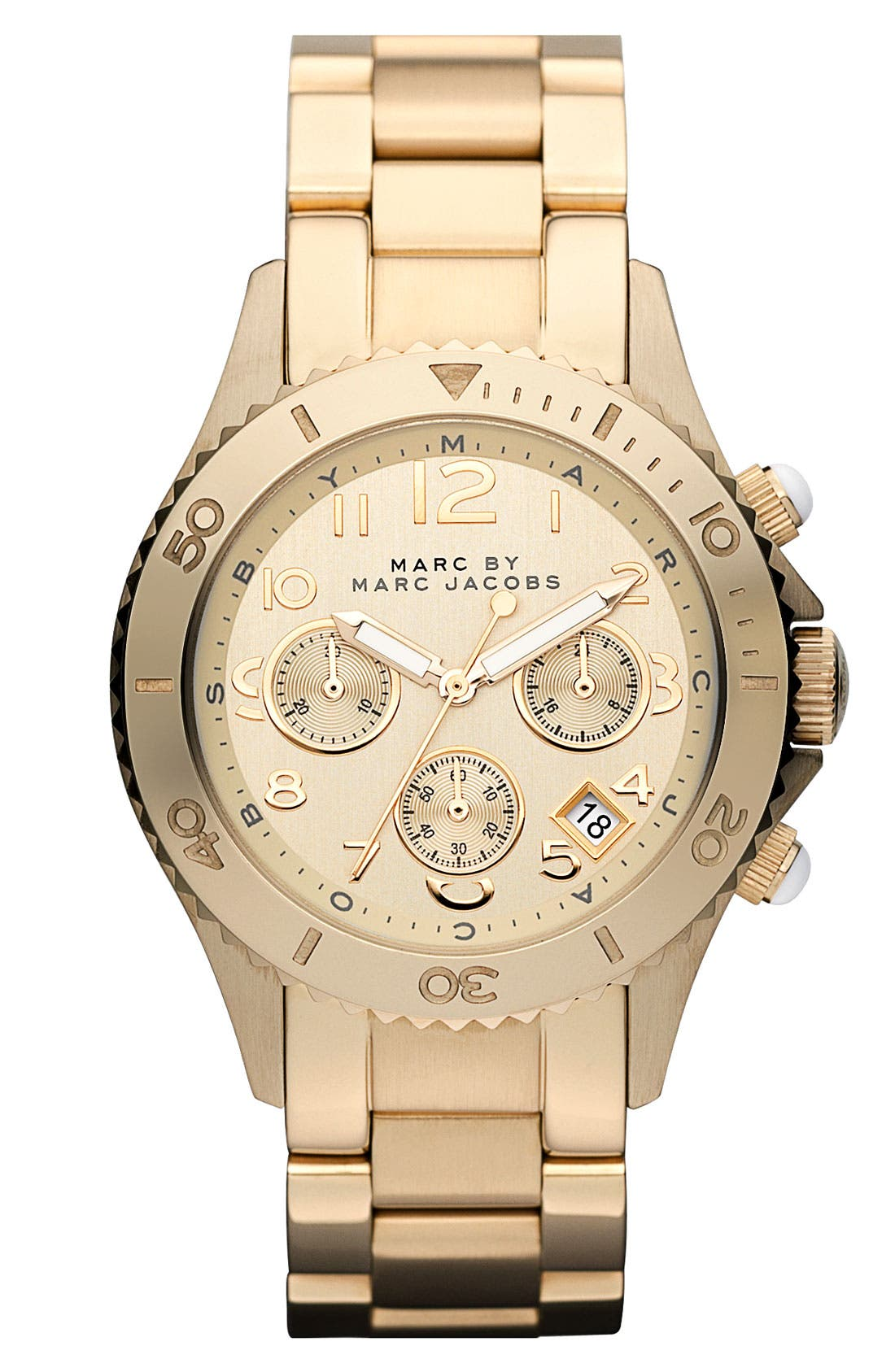 Alternate Image 1 Selected - MARC JACOBS 'Rock' Round Chronograph Bracelet Watch