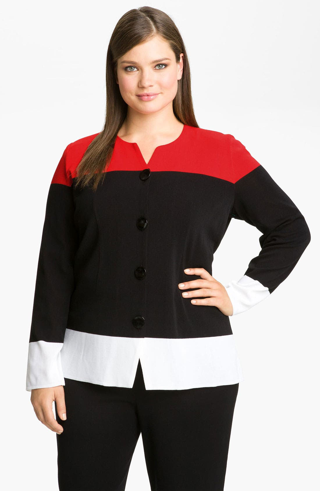 Alternate Image 1 Selected - Exclusively Misook Colorblock Knit Jacket (Plus)