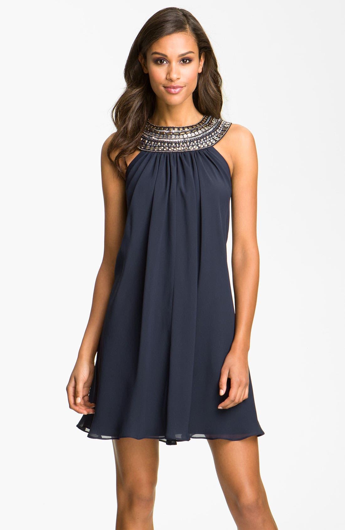 Alternate Image 1 Selected - JS Boutique Embellished Chiffon Trapeze Dress