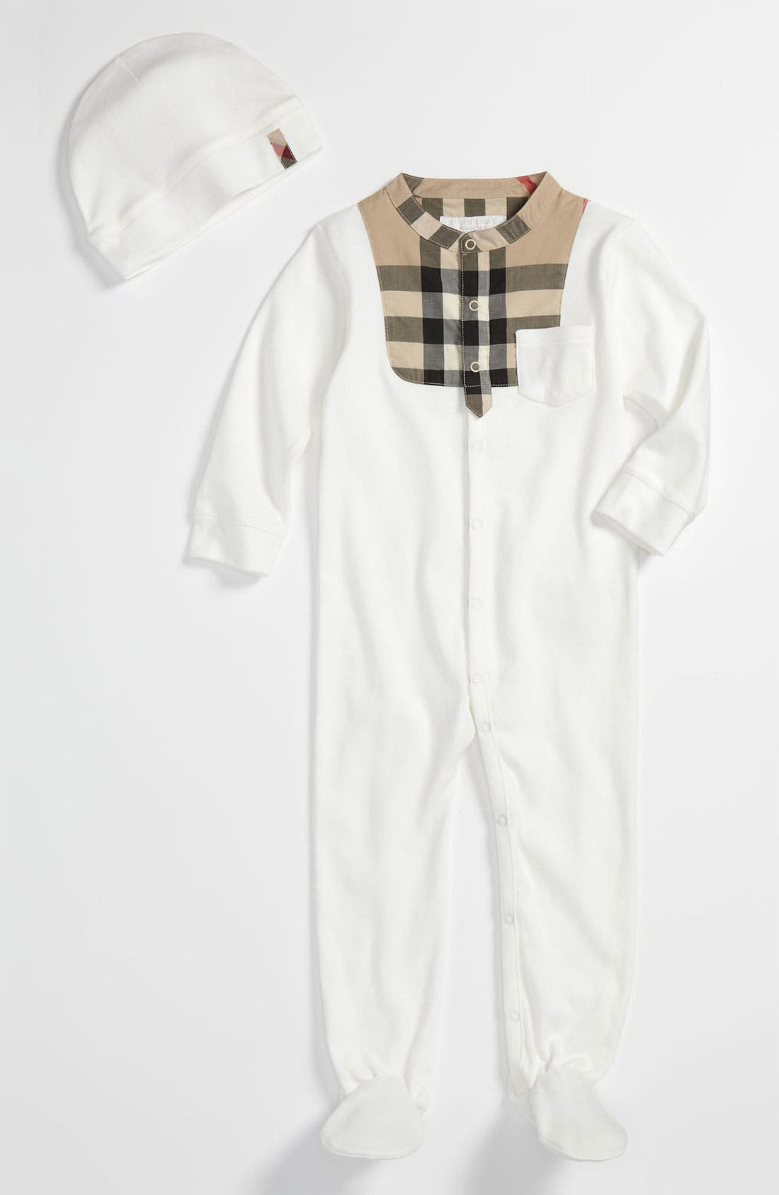 Main Image - Burberry Footie & Hat (Baby)