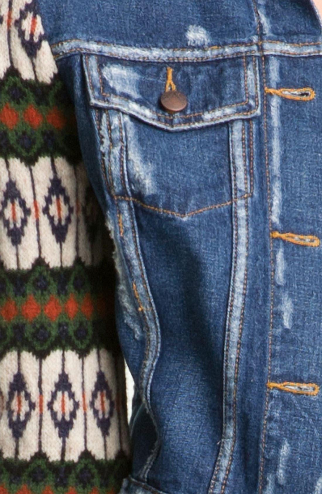 Alternate Image 3  - Free People 'Cypress' Sweater Sleeve Denim Jacket