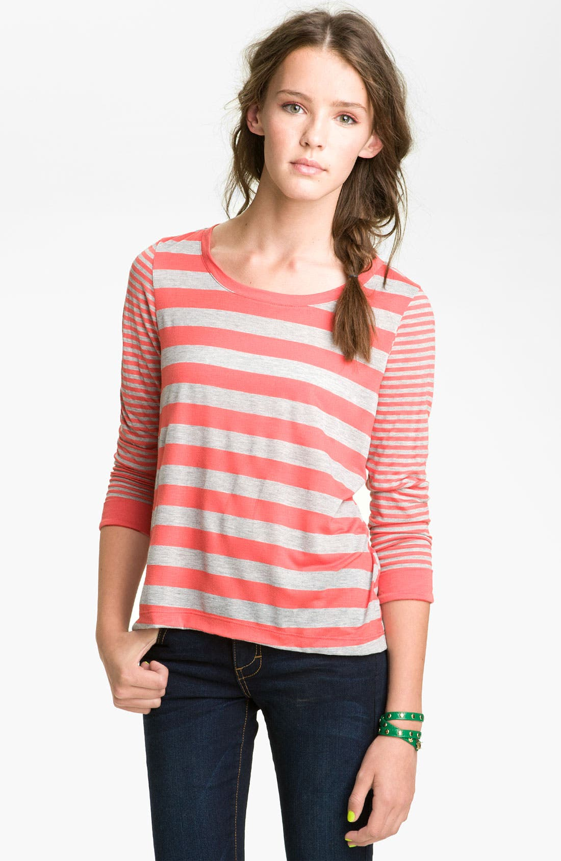 Alternate Image 1 Selected - Chloe K Twin Stripe Tee (Juniors)