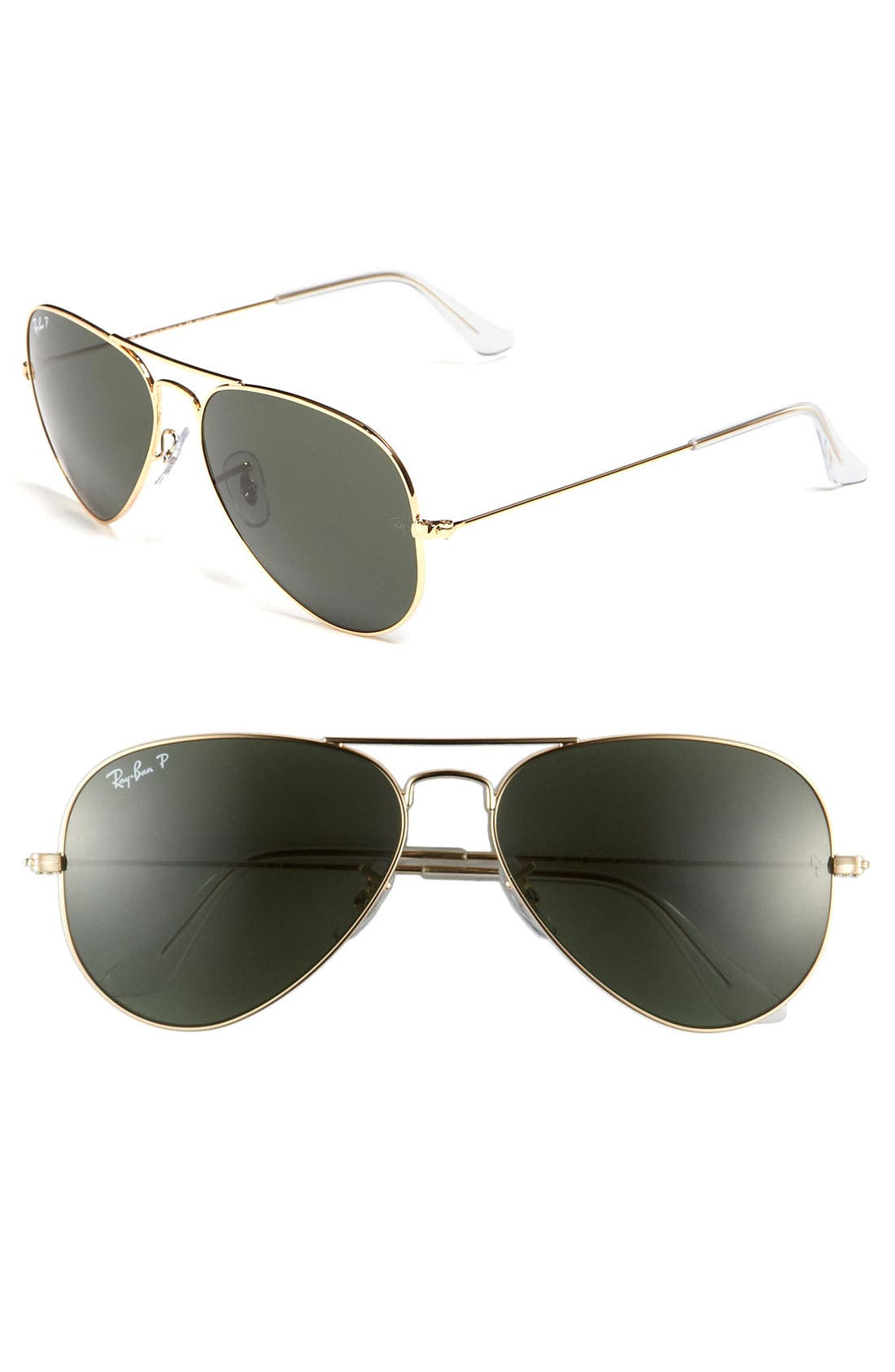 'Polarized Original Aviator' 58Mm Sunglasses - Gold/ Green P