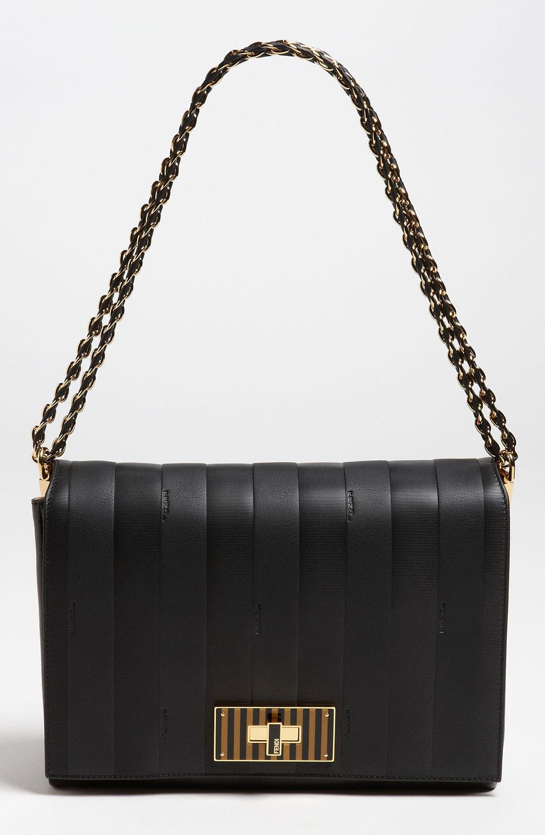 Main Image - Fendi 'Paris Pequin - Large' Leather Shoulder Bag