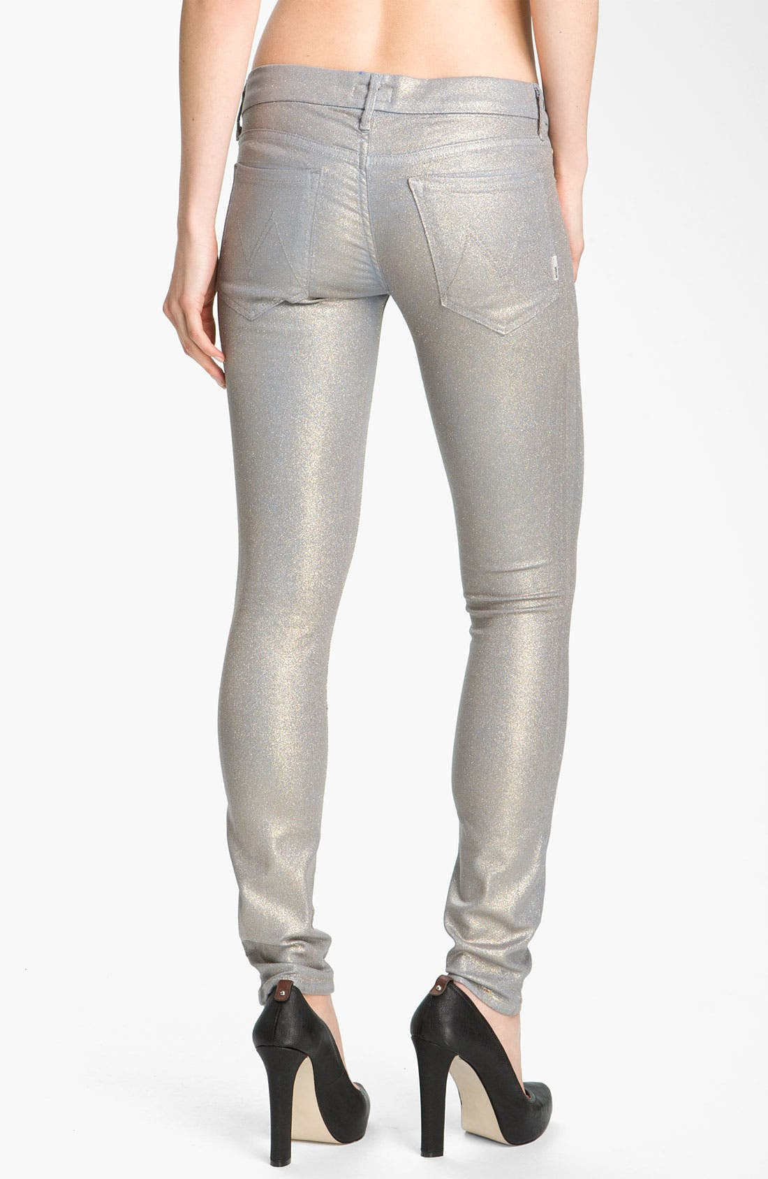 'The Looker' Skinny Stretch Jeans,                             Alternate thumbnail 2, color,                             Powder Blue Glimmer