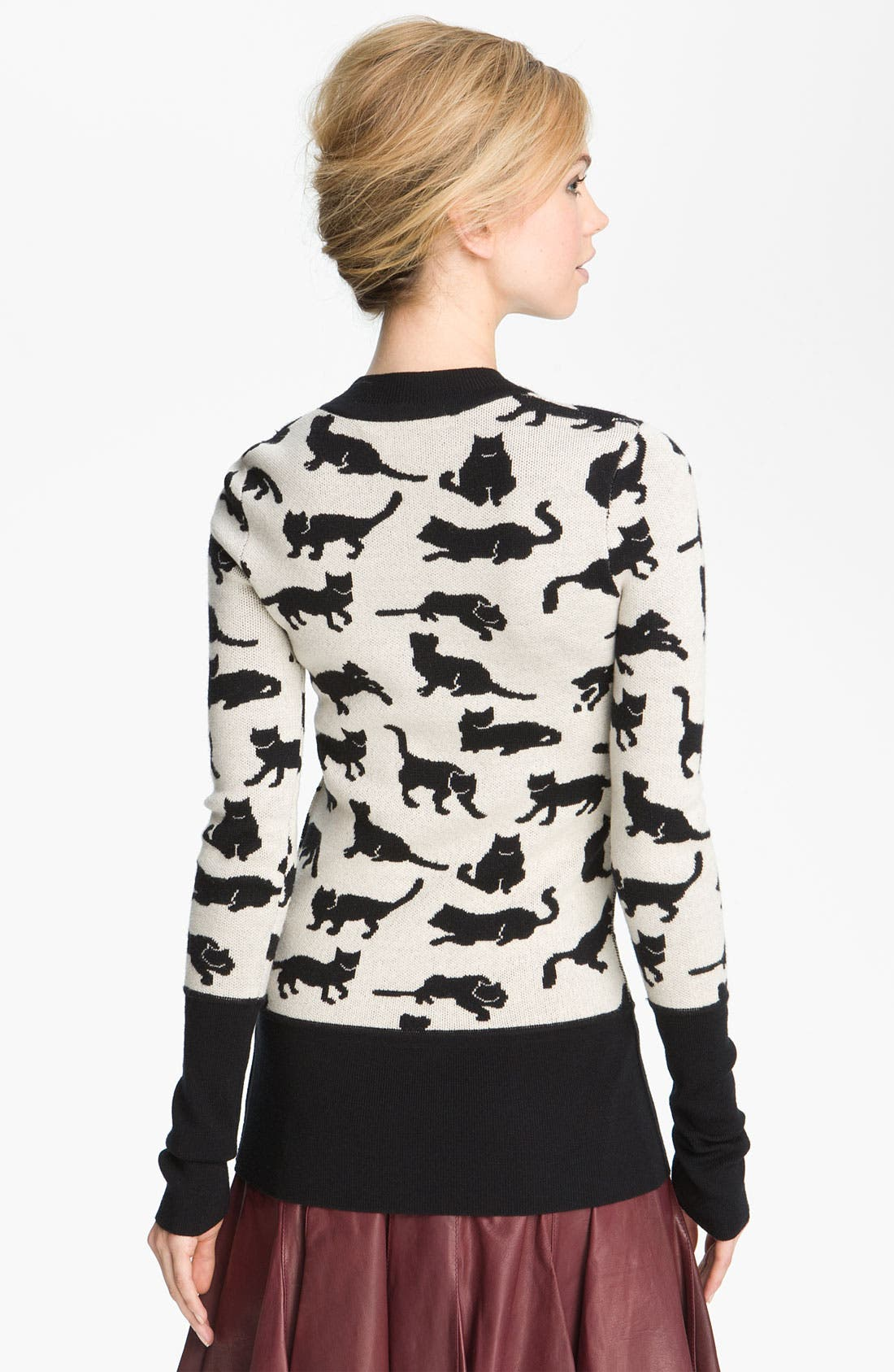 Cat Sweater,                             Alternate thumbnail 2, color,                             Black/ Soft White