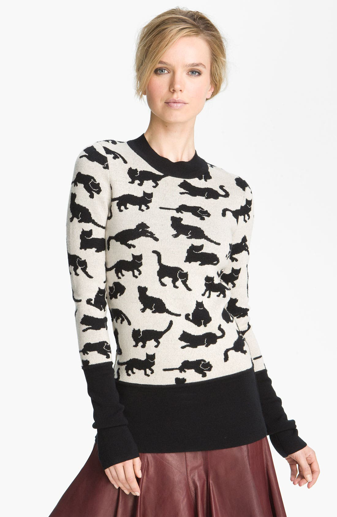 Cat Sweater,                             Main thumbnail 1, color,                             Black/ Soft White