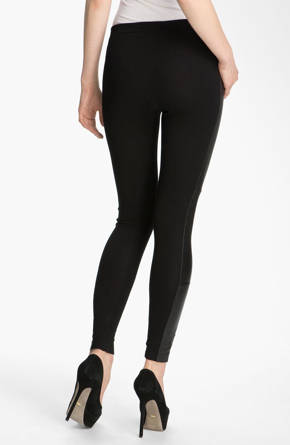 Alternate Image 2  - Alice + Olivia Leather Trim Leggings