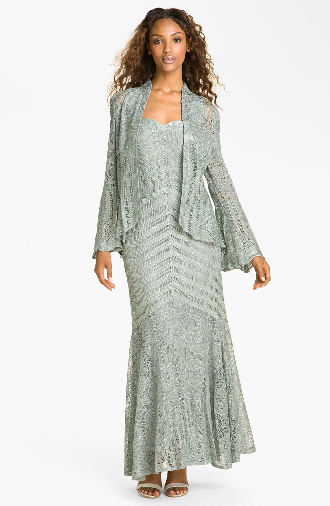 Alternate Image 1 Selected - Damianou 'Circles' Metallic Knit Gown & Jacket