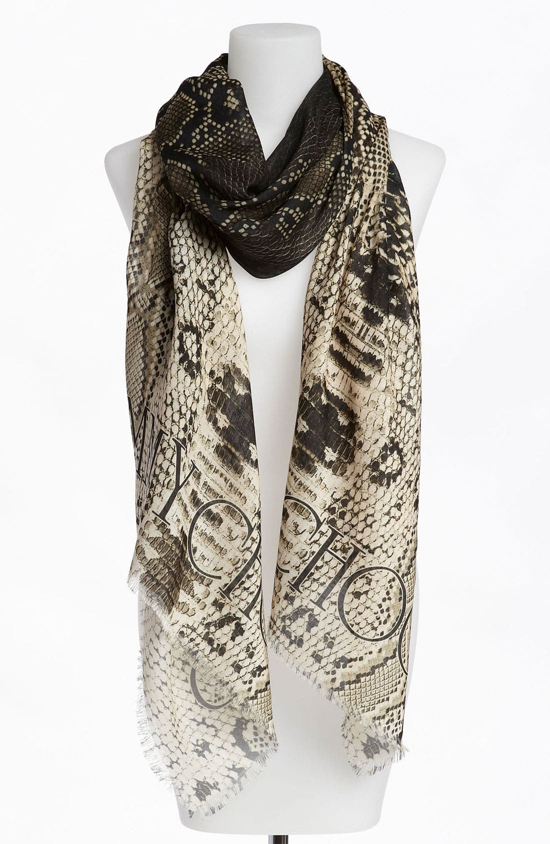 Alternate Image 2  - Jimmy Choo Reptile Print Wool & Silk Scarf