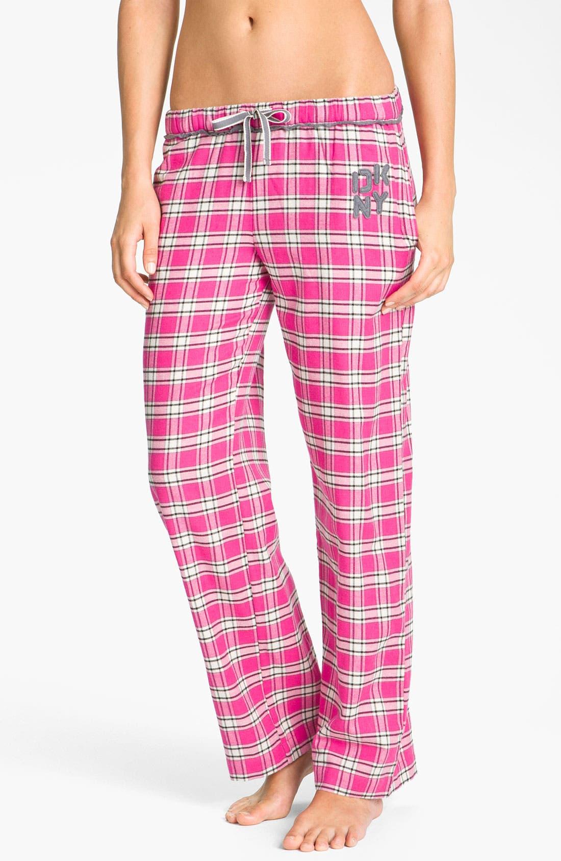 Main Image - DKNY 'Pattern Play' Flannel Pajama Pants