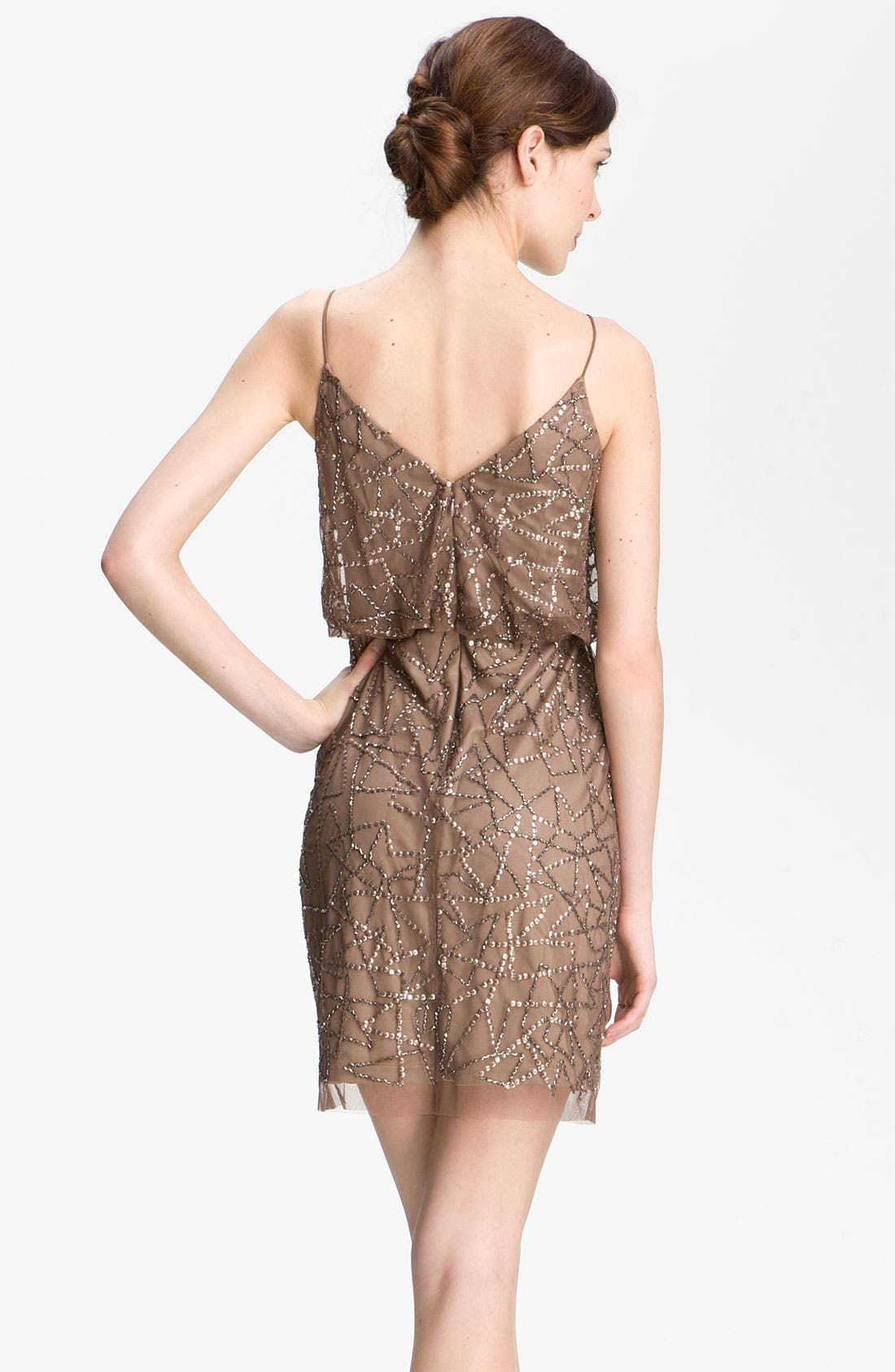 Alternate Image 2  - Adrianna Papell Spaghetti Strap Sequin Mesh Dress