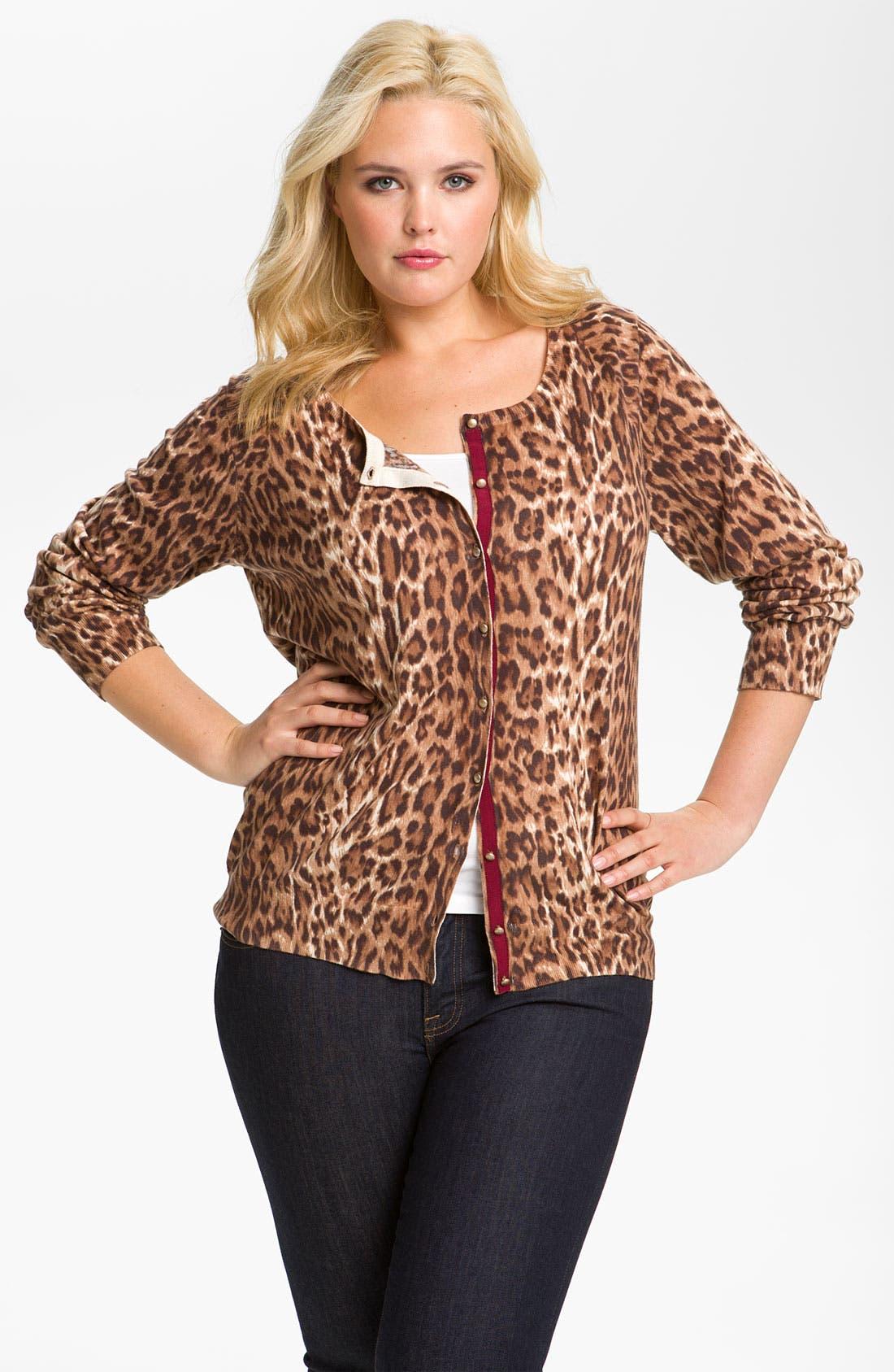 Alternate Image 1 Selected - Lucky Brand Cheetah Print Cardigan (Plus)