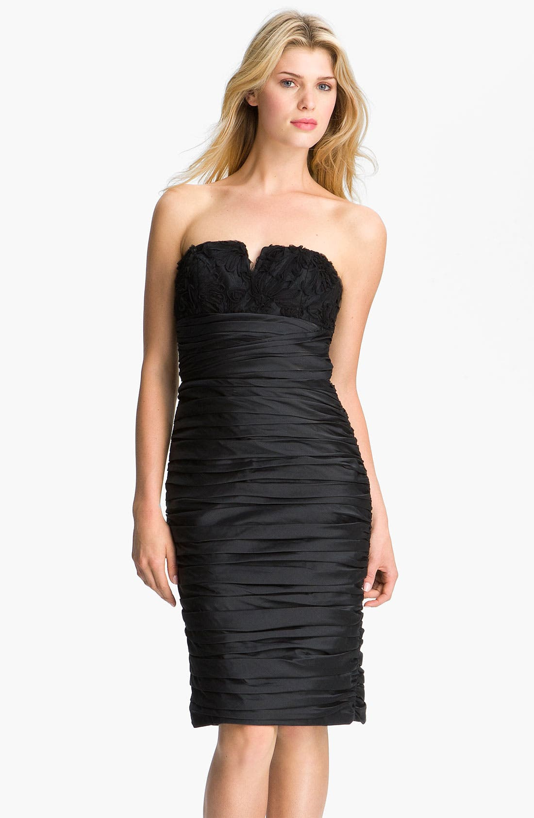 Alternate Image 1 Selected - ML Monique Lhuillier Bridesmaids Ruched Strapless Taffeta Dress (Nordstrom Exclusive)