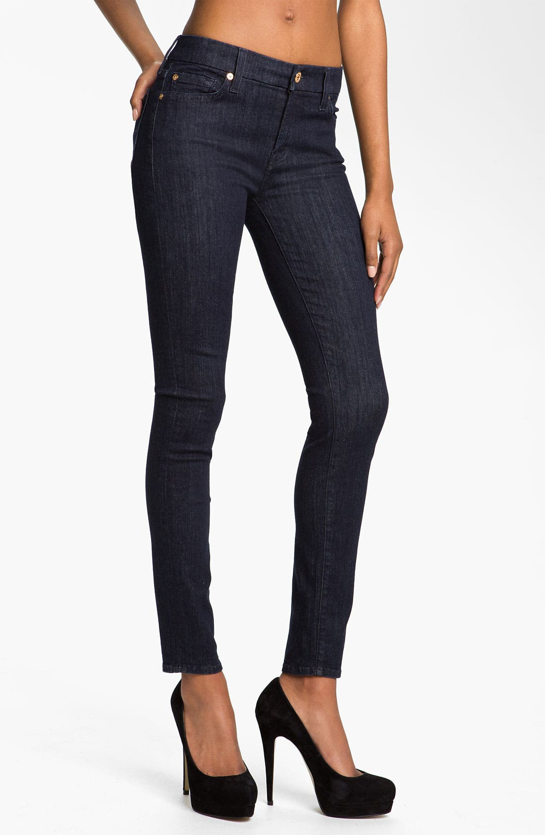 Alternate Image 1 Selected - 7 For All Mankind® 'Slim Illusion' Skinny Stretch Jeans (Rinse)