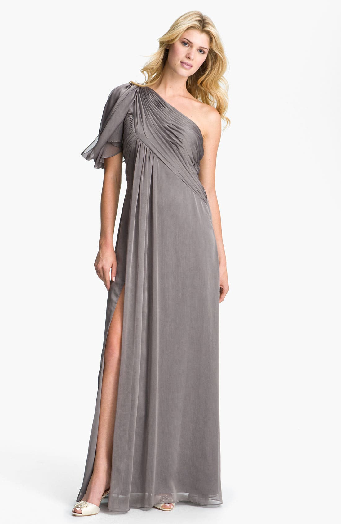 Main Image - Adrianna Papell Pleated One Shoulder Gown