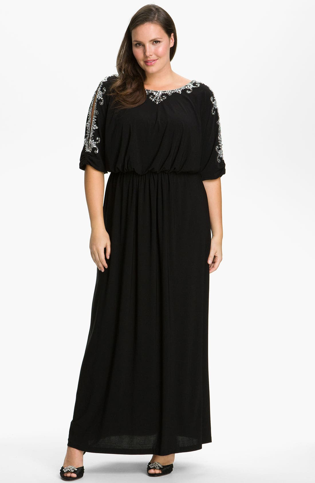 Alternate Image 1 Selected - Alex Evenings Beaded Cold Shoulder Blouson Dress (Plus)