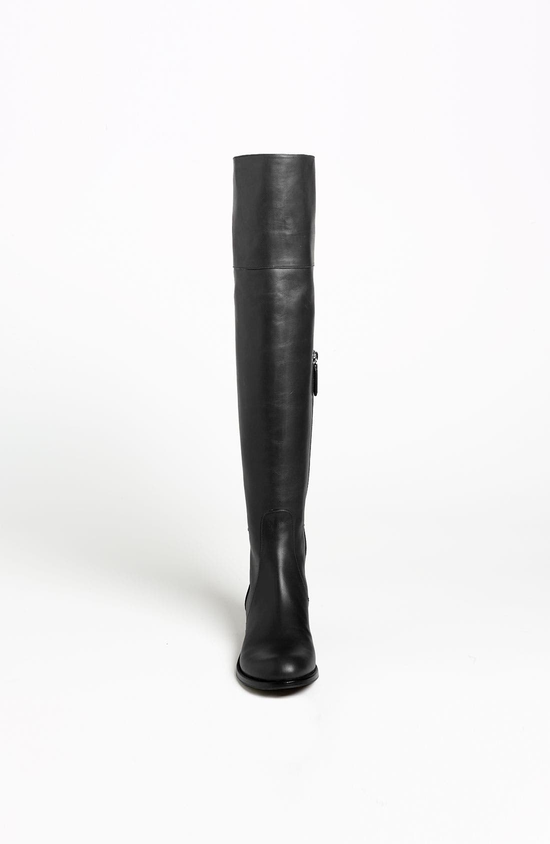 Bow Over the Knee Boot,                             Alternate thumbnail 3, color,                             Black Leather