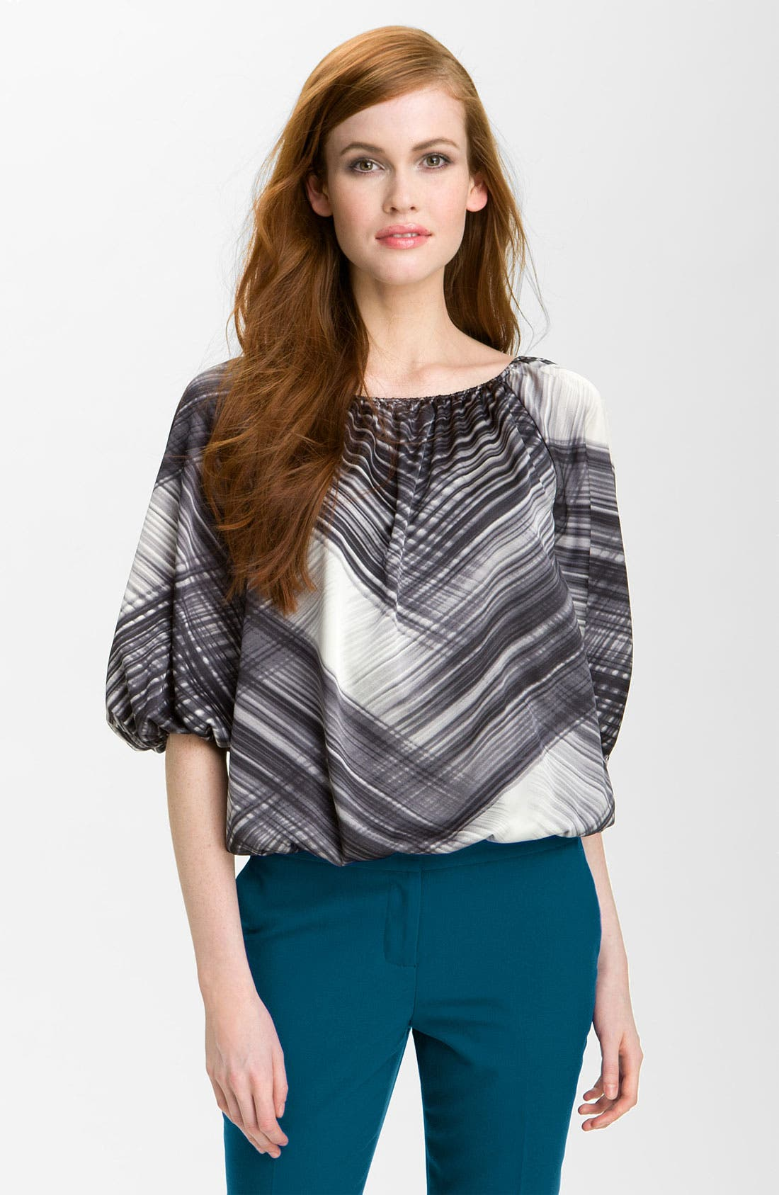 Alternate Image 1 Selected - Vince Camuto 'Brushstrokes' Peasant Blouse (Online Exclusive)